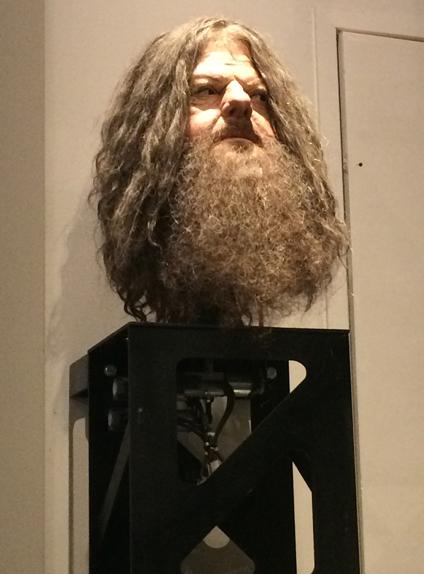 La tête animatronique d'Hagrid vue de loin