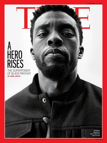 """""""Black Panther"""" devient le 2ème film de super-héros en Une du """"Time""""..."""