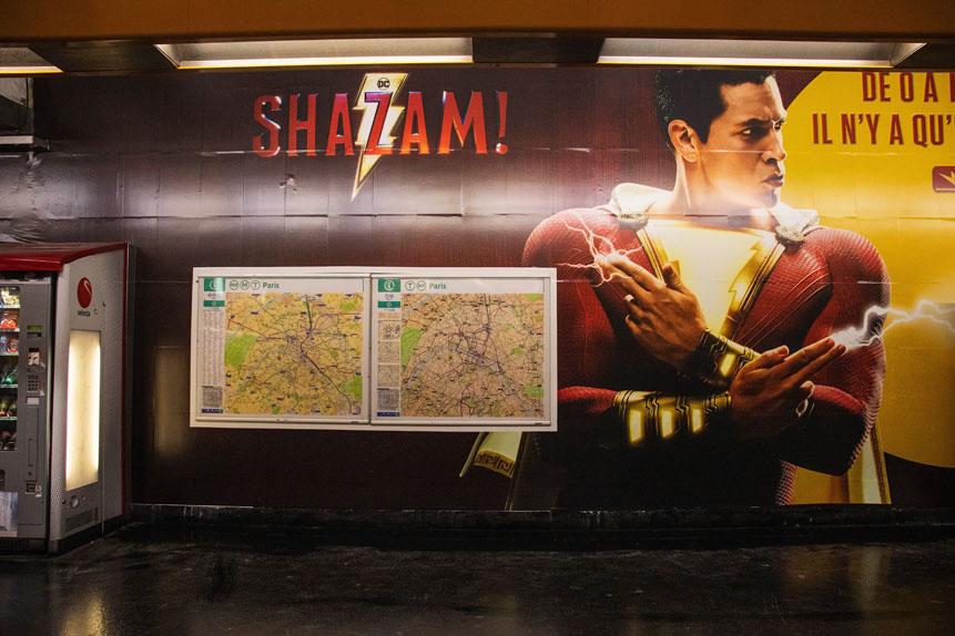 Shazam s'est invité du 27 mars au 2 avril dans le métro parisien à la station Gare de Lyon.