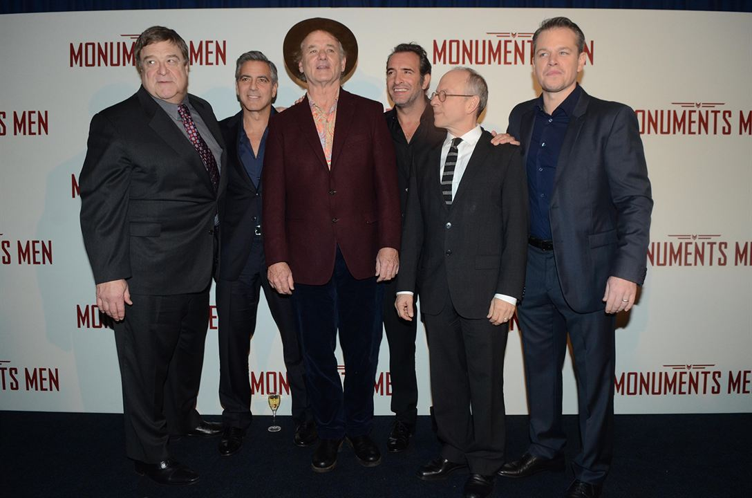 Monuments Men : Photo promotionnelle Bill Murray, Bob Balaban, George Clooney, Jean Dujardin, John Goodman