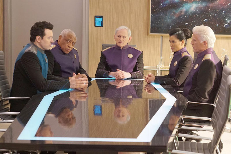 Photo Kelly Hu, Ron Canada, Seth MacFarlane, Ted Danson, Victor Garber