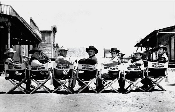 Les Sept mercenaires : photo Brad Dexter, Charles Bronson, Horst Buchholz, James Coburn, Robert Vaughn