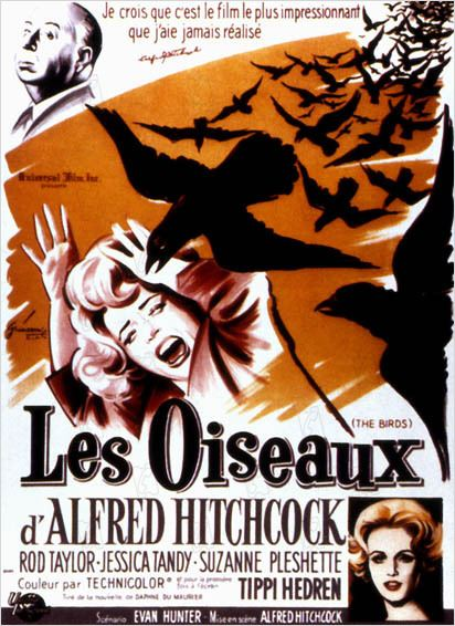 Les Oiseaux : affiche Alfred Hitchcock