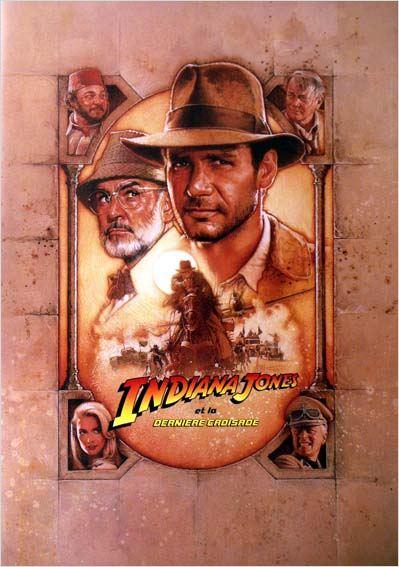 """Affiche française du film """"Indiana Jones et la dernière croisade"""" de S. Spielberg (1989)."""