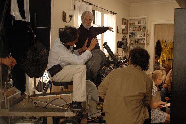 Le réalisateur Michael Haneke sur le tournage