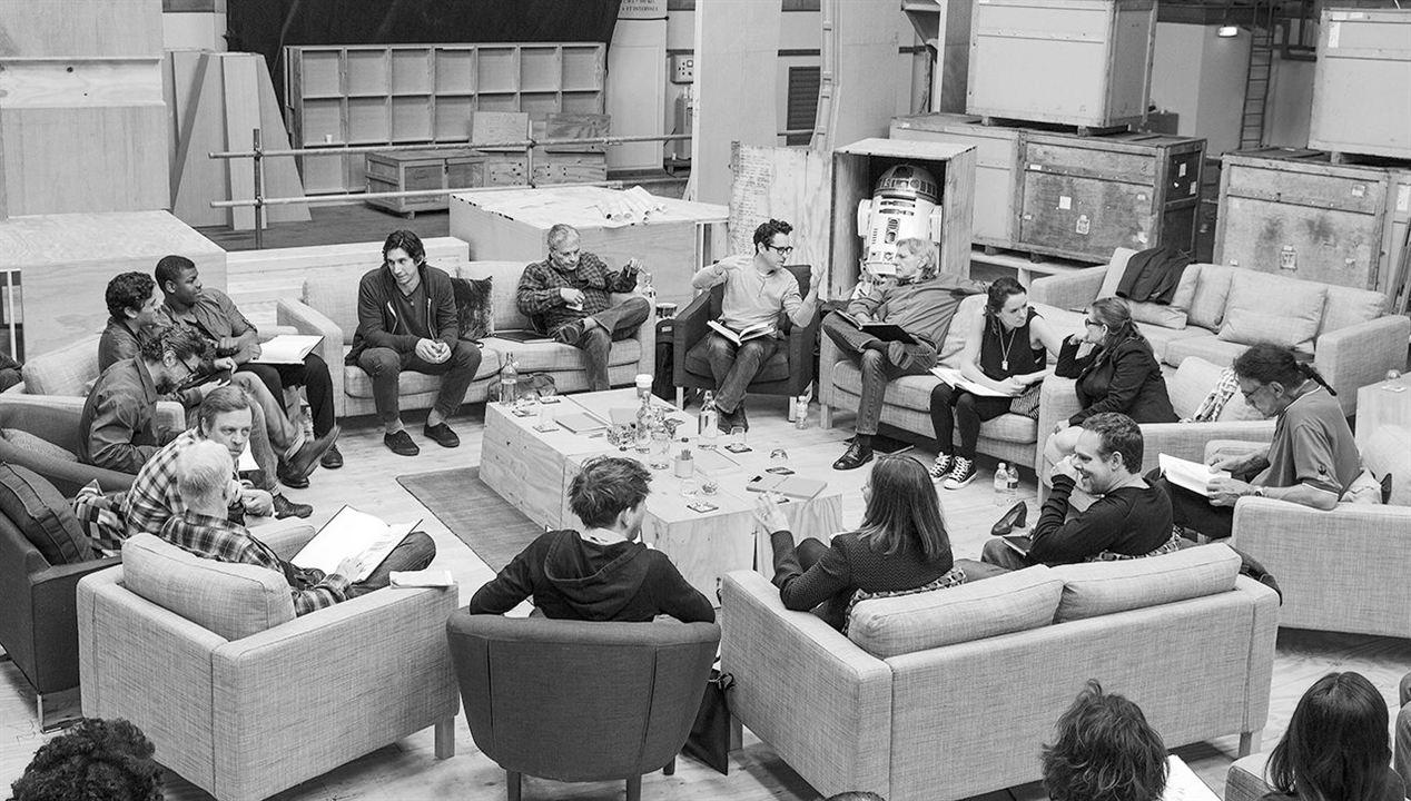 Star Wars - Le Réveil de la Force : Photo promotionnelle Adam Driver, Andy Serkis, Anthony Daniels, Bryan Burk, Carrie Fisher
